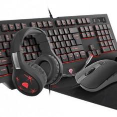 Kit Tastatura, Mouse, Casti si Mousepad Genesis NCG-1469, Iluminare RGB (Negru)