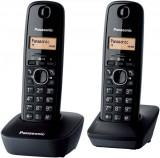 Telefon fara fir DECT Twin Panasonic KX-TG1612FXH cu 2 receptoare Caller ID Negru