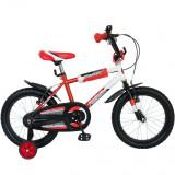 Bicicleta Copii 16 Inch Bimbo, Bonanza, G1601B/2, Cadru Otel, Roti Ajutatoare, Varsta 4-7 Ani, Rosu/Alb