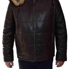 Haina blana naturala barbati, din piele naturala, marca Armadis, SISME-C4-19-140, maro inchis