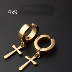 Cercei hoop cercei baieti cercei fete fara gaura cruciulita cruce gold