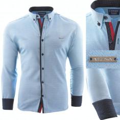 Camasa pentru barbati, slim fit, albastru deschis, casual, cu guler - enrico rizo willow, L, M, S