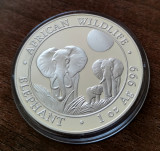 SOMALIA - 100 Shillings 2014 - in capsula - Elefant - argint 31.1 gr. - 999/1000