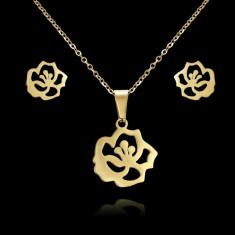 set inox auriu flori cercei si colier cu pandant