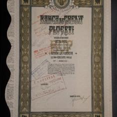 Actiune Banca de credit Ploiesti - 1924 - Titlu - Actiuni la purtator
