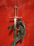 SABIE DECORATIVA DIN  METAL - SABIE EXCALIBUR CU SUPORT  DRAGON 45 CM