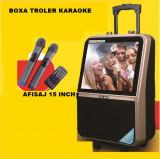 BOXA PORTABILA TROLLER,AFISAJ URIAS 15 INCH,2 MICROFOANE WIRELESS,TELECOMANDA., Universala