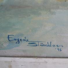 Tablou vechi - Vaza cu flori - semnat Eugenia Stanculescu 1996 (16)
