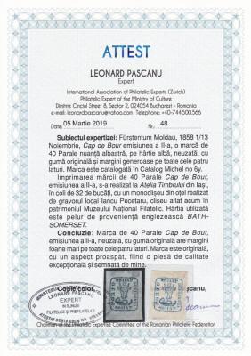 1858 LP 6  CAP DE BOUR EMISIUNEA a II-a 40 PARALE ALBASTRU POINCON L.PASCANU MNH foto