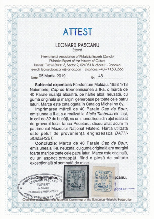 1858 LP 6  CAP DE BOUR EMISIUNEA a II-a 40 PARALE ALBASTRU POINCON L.PASCANU MNH