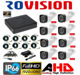 Kit 8 camere supraveghere 2MP Full HD 1080p, IR 30m, Exterior + DVR 8 canale Full HD + Sursa + Cablu sertizat + Cablu splitter