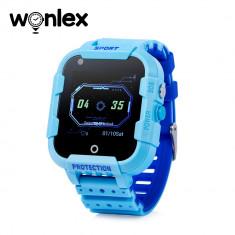 Ceas Smartwatch Pentru Copii Wonlex KT12 cu Functie Telefon, Apel video, Localizare GPS, Camera, Pedometru, SOS, IP54, 4G - Albastru, Cartela SIM Cado