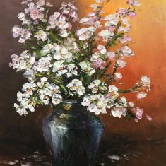 Pictură `Flori de cireş în vas de sticlă`, Ulei, Altul