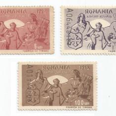 România, lot 211 cu 3 timbre fiscale de ajutor, Consiliul de Patronaj, 1942, MNH