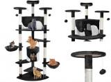 Cumpara ieftin Ansamblu de joaca pentru pisici, cu 2 casute, XXL, 200 cm, cu stalpi din funie de sisal, Negru