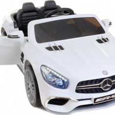 Masinuta electrica MERCEDES SL65 AMG pentru copii, cu volan, telecomanda si licenta, capacitate 35kg, culoare alb