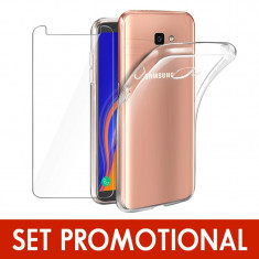 Set SAMSUNG Galaxy J4 Plus 2018 - Folie de Sticla 9H + Husa Silicon (Transparenta)