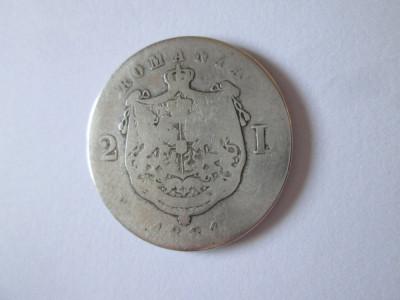 Romania 2 Lei 1881 argint in stare slaba foto