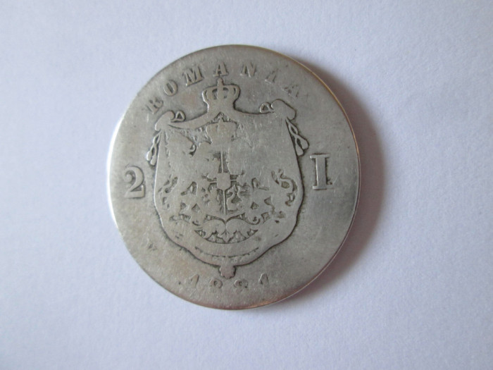 Romania 2 Lei 1881 argint in stare slaba