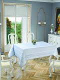 Față de masă impermeabila Valentini Bianco, Model Jackline Olive, 160×220 cm, culoare Alb