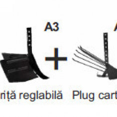 Pachet Motosapa pe benzina, MS 7-80 +roti metalice + rarita reglabila + plug...