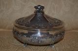 BOMBONIERA ARGINT 800 - Cu capac - Art Nouveau - Gravata manual - Vintage - 555g, Vas