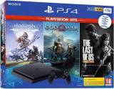 Consola Sony PlayStation 4 Slim 1TB + God of War HITS + Horizon Zero Dawn Complete Edition HITS + The Last of Us Remastered HITS (Negru)
