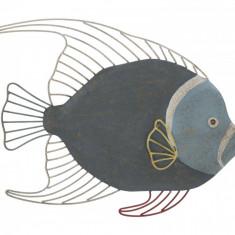 Decoratiune metalica de perete Fish Albastru, l55,5xA5xH45 cm