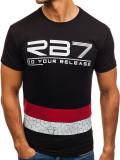 T-shirt pentru bărbat cu imprimeu negru Bolf 0008