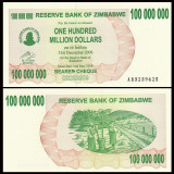 = ZIMBABWE - 100 000 000 (100 MILLION) DOLLARS - 2008 – UNC