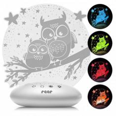 Lampa de veghe ColorLumy Night Owl Reer, 0.25 W, alimentare 3 x AA
