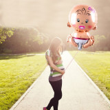 Balon folie Fetita, figurina Baby Girl, 72x50 cm, aer sau heliu