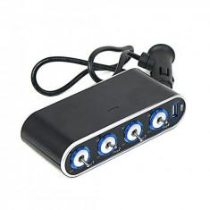 Multiplicator priza auto cu 1 USB, o intrare, 4 iesiri, buton on/off / iesire