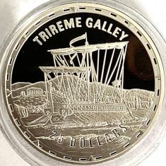 INSULELE SOLOMON 25 DOLLARS 2005 PROOF,(FIGHTING SHIPS-TRIREME GALLEY).AG.999