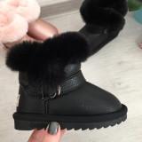Cizme de iarna negre imblanite pantofi fetite bebe piele 28 29 32 33 GGM