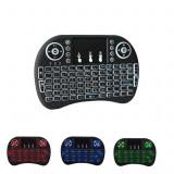 Mini Tastatura Wireless Iluminata LED pentru PC, Laptop, Tableta, Xbox, Smart TV, Play Station, Raza 15m