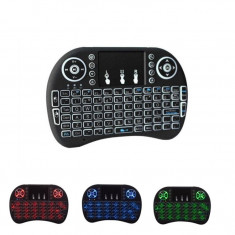 Mini Tastatura Wireless Iluminata LED pentru PC, Laptop, Tableta, Xbox, Smart TV, Play Station, Raza 15m