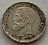 1 Leu 1906, Argint, Romania, Superba, Necuratata