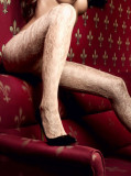 Cumpara ieftin Ciorapi - Baci Ciorapi Sampanie din Dantela cu Model Floral 1146