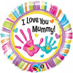Balon botez I Love You Mummy din folie 43cm