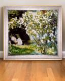 Pictura cu flori de gradina, Tablou cu flori,  femeie pictata in peisaj cu flori