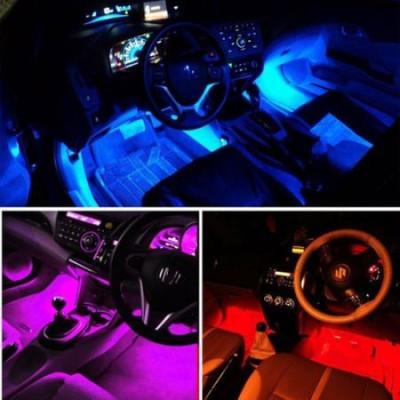 Set 4 benzi LED Interior Auto RGB 18 LED-uri cu telecomanda foto