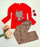 Cumpara ieftin Pijama dama ieftina bumbac cu pantaloni animal print si bluza cu maneca lunga rosie cu imprimeu HK