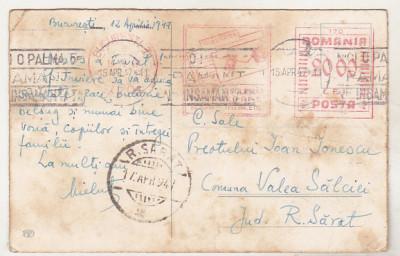 bnk fil Felicitare circulata 1947 - francatura mecanica - 20.00 Lei foto