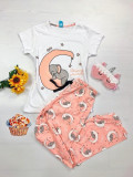 Pijama dama ieftina bumbac lunga cu pantaloni lungi roz si tricou alb cu imprimeu Elefantel