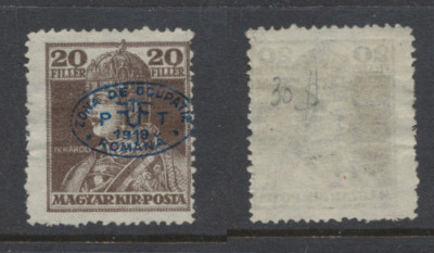 1919 Romania ocupatia Ungaria Debretin I timbru Karl 20f neuzat foto