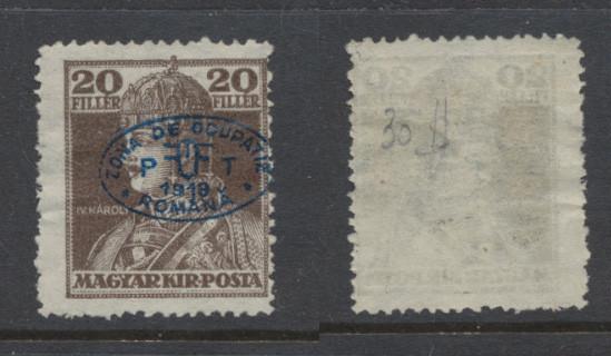 1919 Romania ocupatia Ungaria Debretin I timbru Karl 20f neuzat