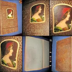 1488- Album foto splendid original stil Art Noveau anii 1900 coperta piele.