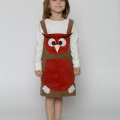 Sarafan-rochiță bufnița Bia -costum serbare spectacol by KIDissue, 1-2 ani, 2-3 ani, 3-4 ani, 4-5 ani, 5-6 ani, 6-7 ani, 7-8 ani, 8-9 ani, 9-10 ani, Din imagine