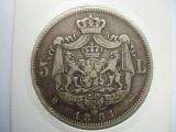 ROMANIA - 5 LEI 1881 , AG900 , CAROL I REGE, MUCHIE CU 5 STELE, LCP1.39